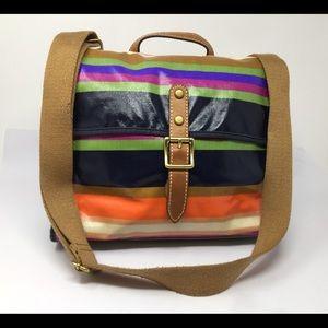 Large Key-Per Canvas Striped Handbag Purse Bag EUC